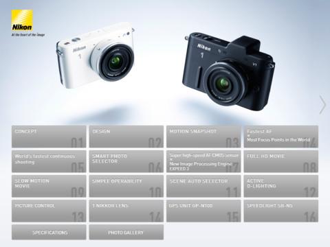 iPad için Nikon 1 Katalog Uygulaması