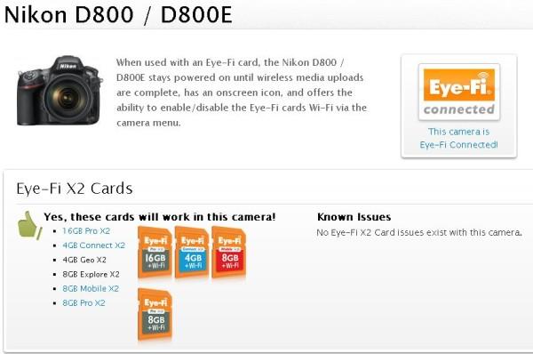 Firmware Güncellemesi ile Eye-Fi Kartlar Artık Nikon D800/E Uyumlu