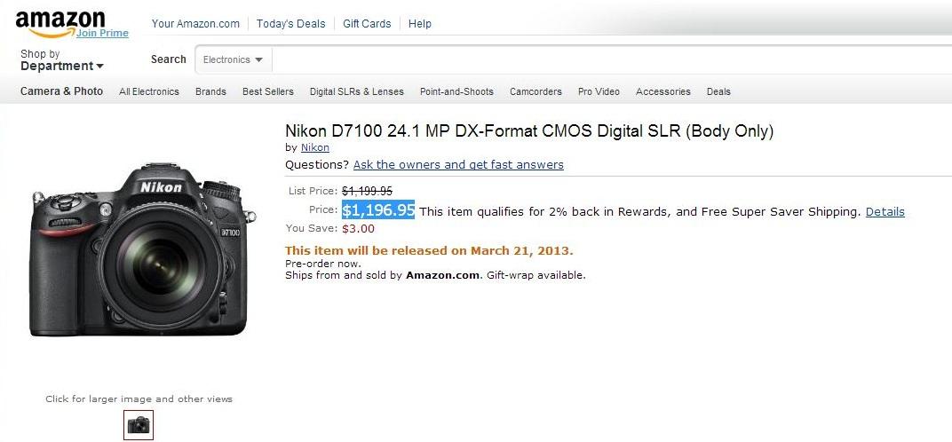 Amazon.com Nikon D7100 24