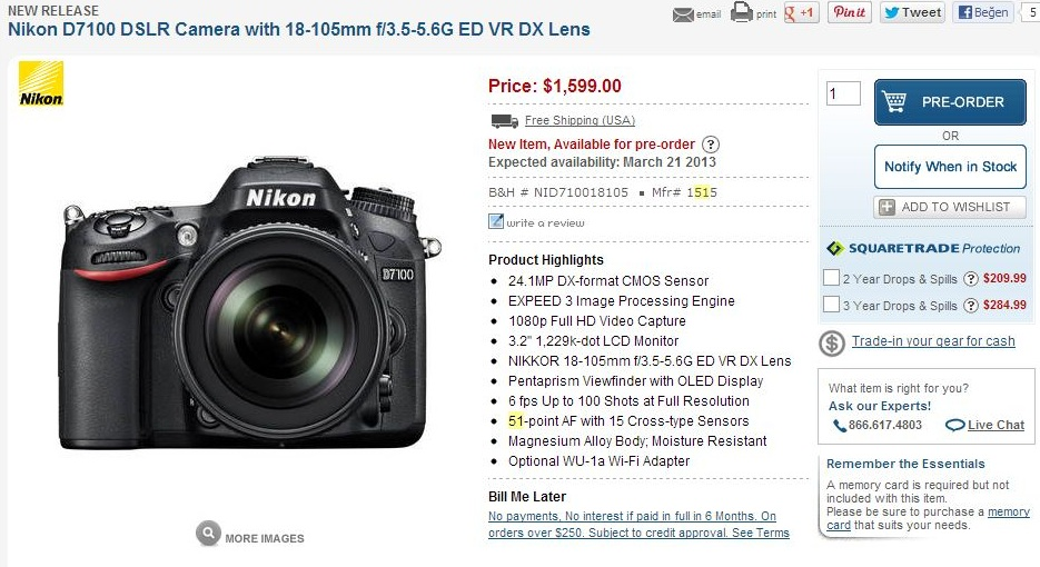 Nikon D7100 DSLR Camera with 18-105mm f3.5-5