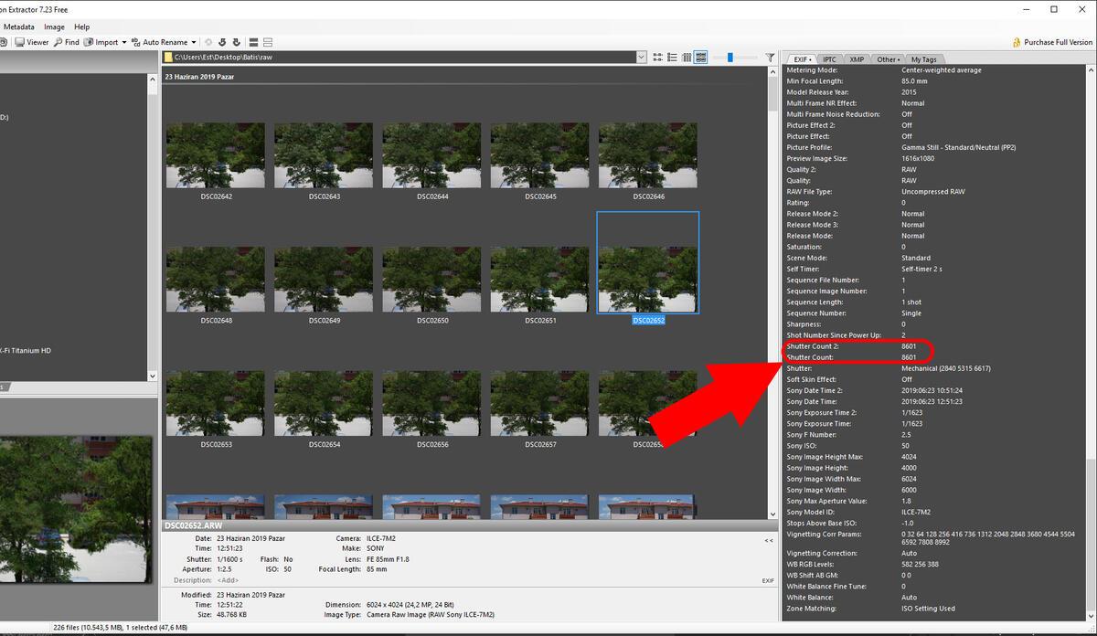 Sony Fotoğraf Makineleri için Shutter Sayısı Öğrenme